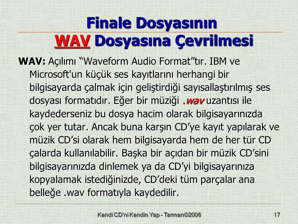 Kendi CD ni Kendin Yap - Tarman©200617 Finale Dosyasının WAV Dosyasına Çevrilmesi WAV: Açılımı Waveform Audio Format tır.