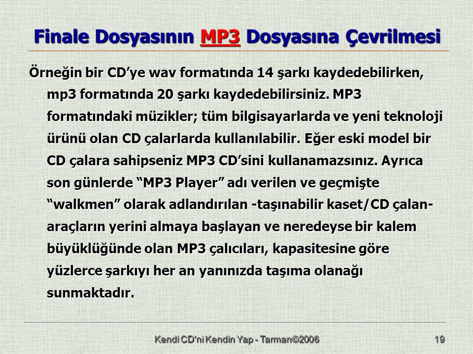 Kendi CD ni Kendin Yap - Tarman©200619 Finale Dosyasının MP3 Dosyasına Çevrilmesi Örneğin bir CD'ye wav formatında 14 şarkı kaydedebilirken, mp3 formatında 20 şarkı kaydedebilirsiniz.