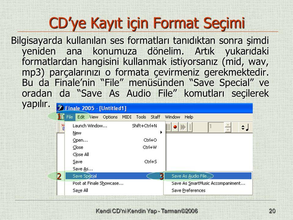 Kendi CD ni Kendin Yap - Tarman©200620 CD'ye Kayıt için Format Seçimi Bilgisayarda kullanılan ses formatları tanıdıktan sonra şimdi yeniden ana konumuza dönelim.