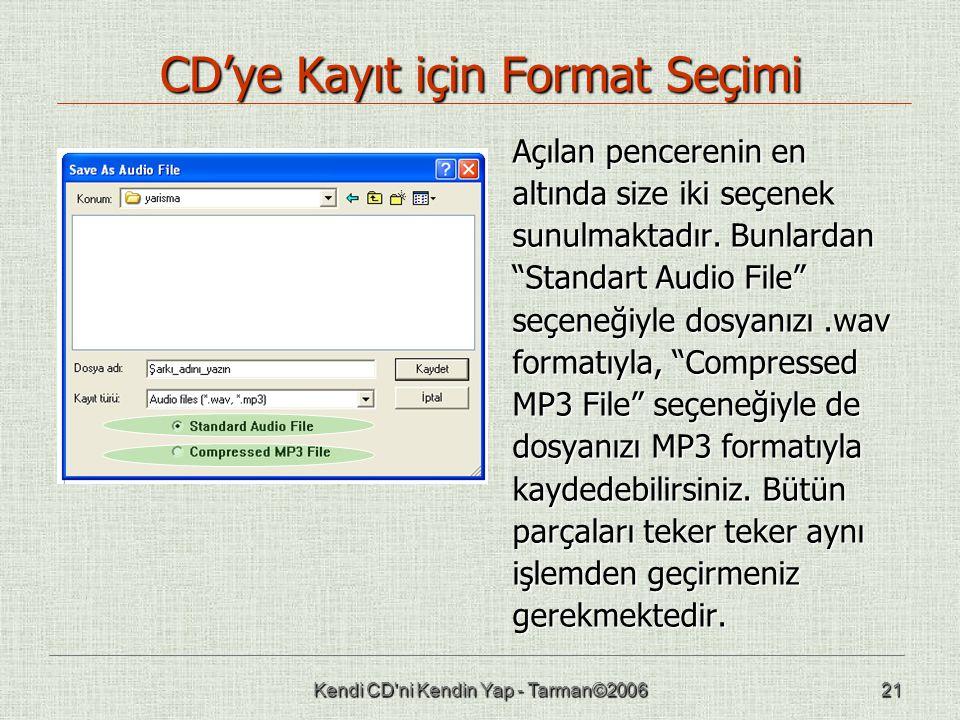 """Kendi CD'ni Kendin Yap - Tarman©200621 CD'ye Kayıt için Format Seçimi Açılan pencerenin en altında size iki seçenek sunulmaktadır. Bunlardan """"Standart"""