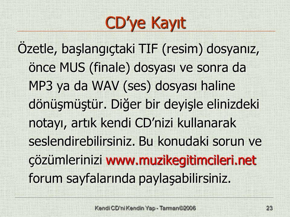 Kendi CD ni Kendin Yap - Tarman©200623 CD'ye Kayıt Özetle, başlangıçtaki TIF (resim) dosyanız, önce MUS (finale) dosyası ve sonra da MP3 ya da WAV (ses) dosyası haline dönüşmüştür.