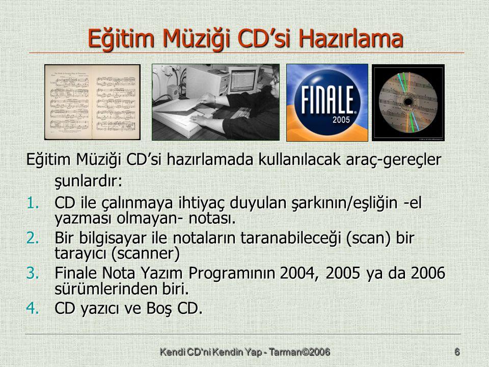 Kendi CD ni Kendin Yap - Tarman©20066 Eğitim Müziği CD'si Hazırlama Eğitim Müziği CD'si hazırlamada kullanılacak araç-gereçler şunlardır: 1.CD ile çalınmaya ihtiyaç duyulan şarkının/eşliğin -el yazması olmayan- notası.