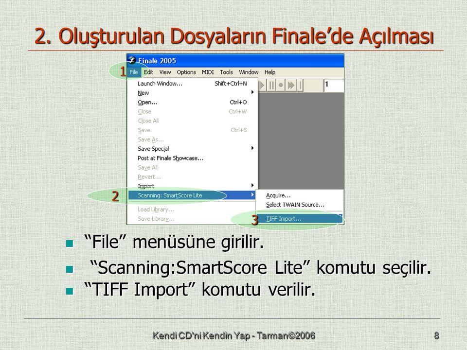 """Kendi CD'ni Kendin Yap - Tarman©20068 2. Oluşturulan Dosyaların Finale'de Açılması  """"File"""" menüsüne girilir.  """"Scanning:SmartScore Lite"""" komutu seçi"""