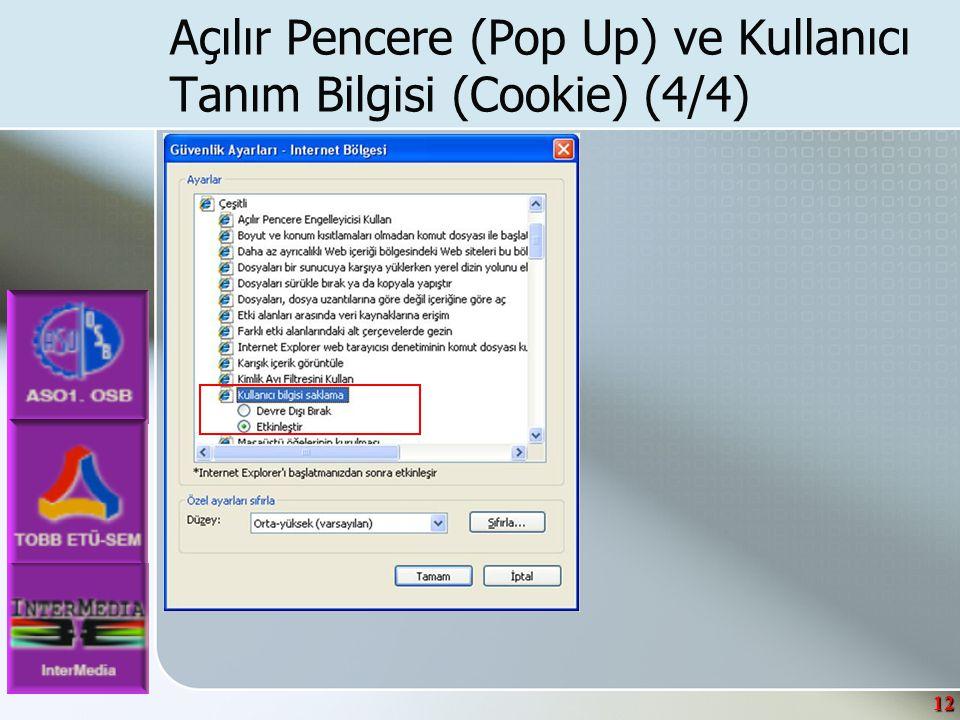 12 Açılır Pencere (Pop Up) ve Kullanıcı Tanım Bilgisi (Cookie) (4/4)