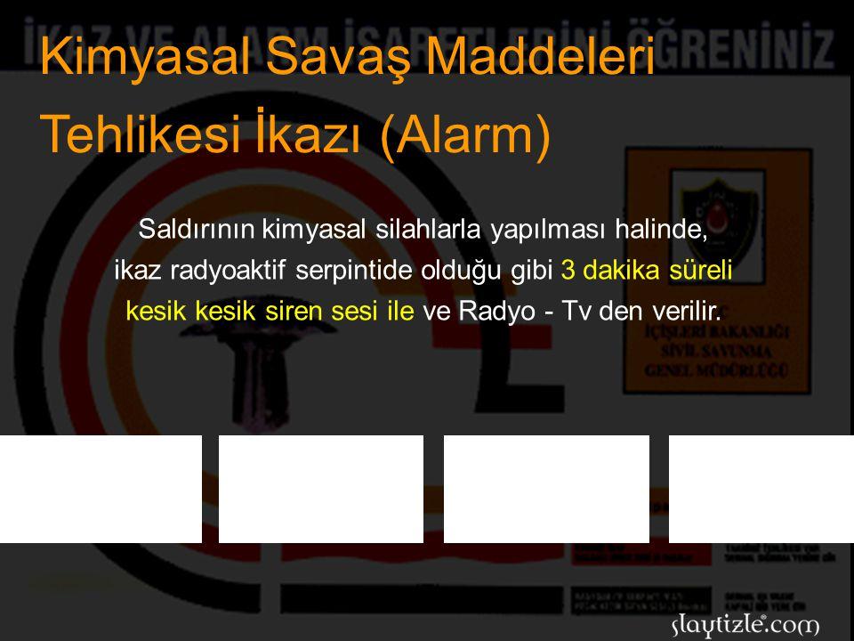 Radyoaktif Serpinti İkazı (Alarm) Bu ikazla hemen, gereken malzeme ve yiyecek maddeleri ile birlikte sığınak veya sığınma yerlerine gidiniz.