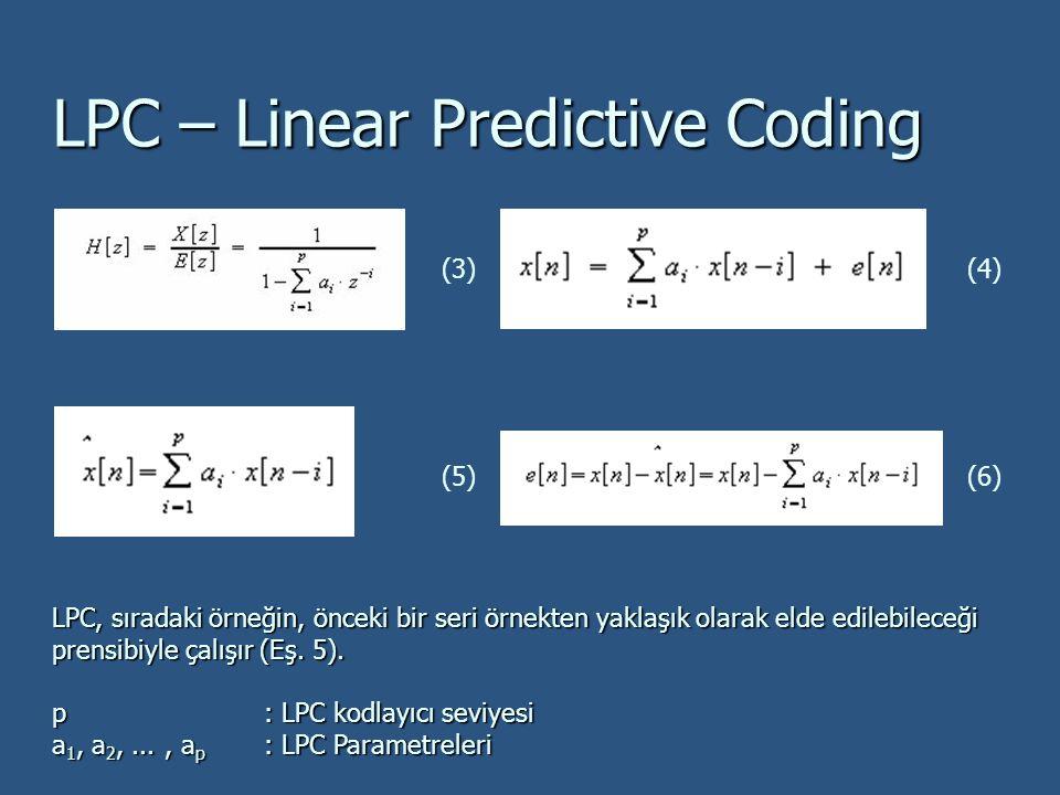 LPC – Linear Predictive Coding LPC, sıradaki örneğin, önceki bir seri örnekten yaklaşık olarak elde edilebileceği prensibiyle çalışır (Eş. 5). p: LPC