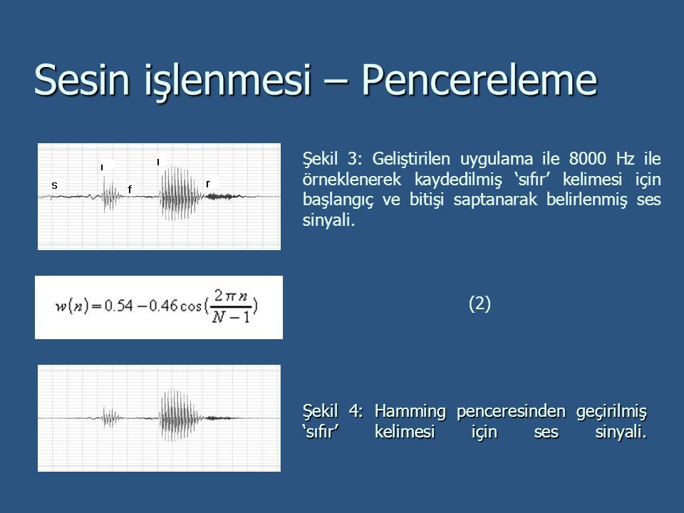 Sesin işlenmesi – Pencereleme Şekil 3: Geliştirilen uygulama ile 8000 Hz ile örneklenerek kaydedilmiş 'sıfır' kelimesi için başlangıç ve bitişi saptan