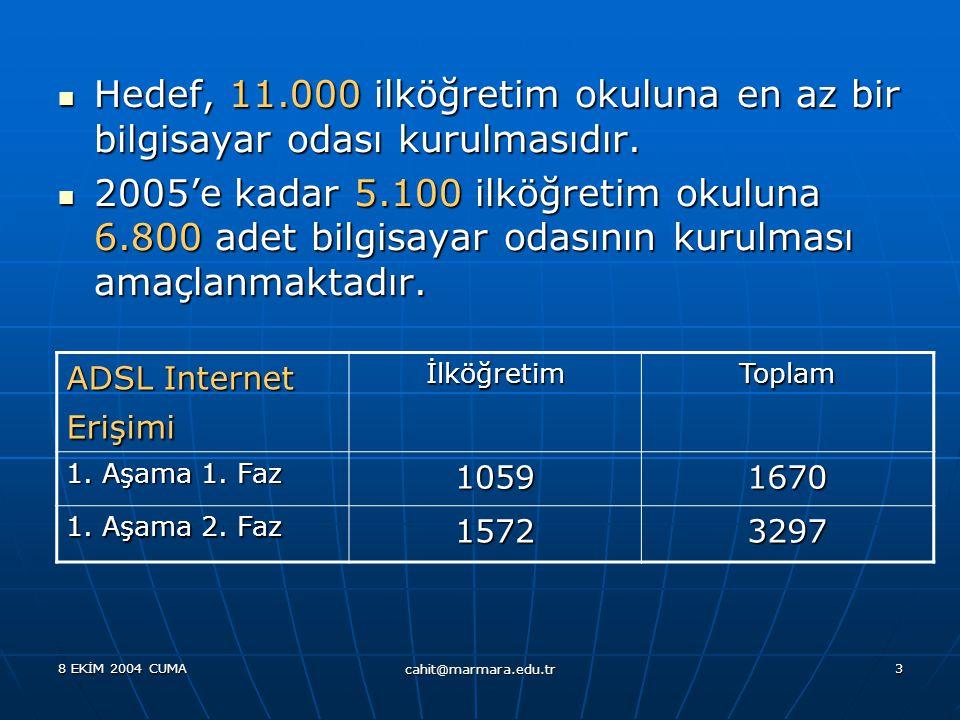 8 EKİM 2004 CUMA cahit@marmara.edu.tr 3  Hedef, 11.000 ilköğretim okuluna en az bir bilgisayar odası kurulmasıdır.