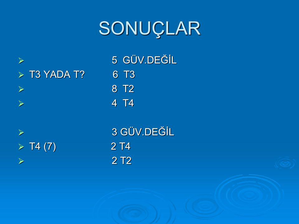 SONUÇLAR  5 GÜV.DEĞİL  T3 YADA T 6 T3  8 T2  4 T4  3 GÜV.DEĞİL  T4 (7) 2 T4  2 T2