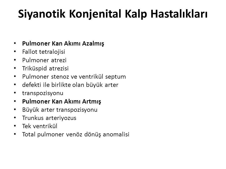 Siyanotik Konjenital Kalp Hastalıkları • Pulmoner Kan Akımı Azalmış • Fallot tetralojisi • Pulmoner atrezi • Triküspid atrezisi • Pulmoner stenoz ve ventrikül septum • defekti ile birlikte olan büyük arter • transpozisyonu • Pulmoner Kan Akımı Artmış • Büyük arter transpozisyonu • Trunkus arteriyozus • Tek ventrikül • Total pulmoner venöz dönüş anomalisi