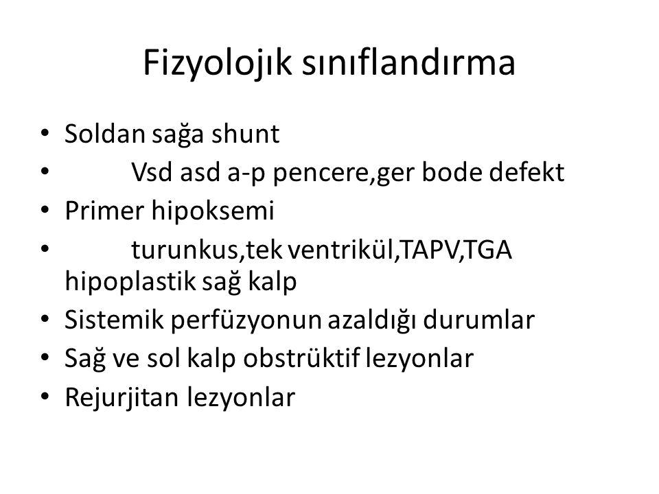 Fizyolojık sınıflandırma • Soldan sağa shunt • Vsd asd a-p pencere,ger bode defekt • Primer hipoksemi • turunkus,tek ventrikül,TAPV,TGA hipoplastik sa