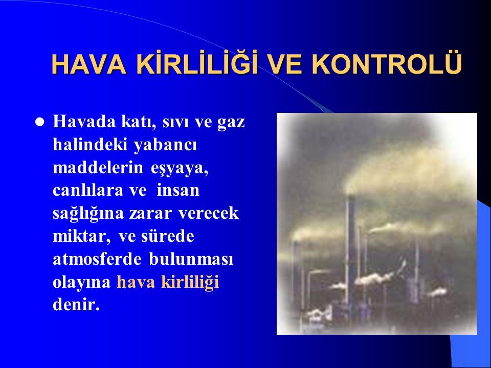 HAVA KİRLETİCİLERİ VE KAYNAKLARI Hava Kirleticileri 1.