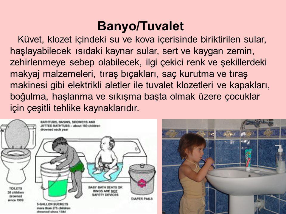 • Boğulma • Sıcak su yanma ve haşlanmaları • Düşmeler ve kaymalar • Çocuğun tuvalette kilitli kalması • Çocuğun banyo penceresinden dışarıya tırmanması • Zehirlenme • Kırık cam veya keskin objelerden dolayı yaralanma BANYO VE TUVALETTEKİ TEHLİKELER