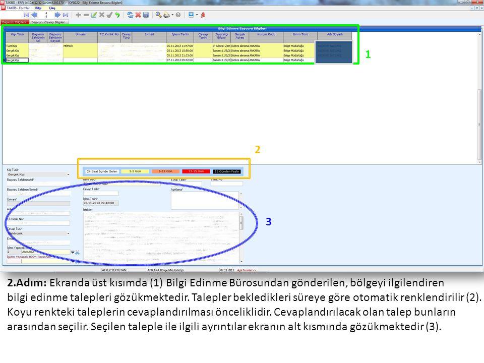 2.Adım: Ekranda üst kısımda (1) Bilgi Edinme Bürosundan gönderilen, bölgeyi ilgilendiren bilgi edinme talepleri gözükmektedir.