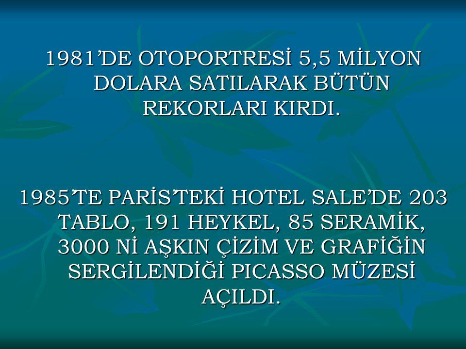 1981'DE OTOPORTRESİ 5,5 MİLYON DOLARA SATILARAK BÜTÜN REKORLARI KIRDI. 1985'TE PARİS'TEKİ HOTEL SALE'DE 203 TABLO, 191 HEYKEL, 85 SERAMİK, 3000 Nİ AŞK
