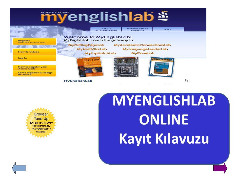 MYENGLISHLAB ONLINE Kayıt Kılavuzu