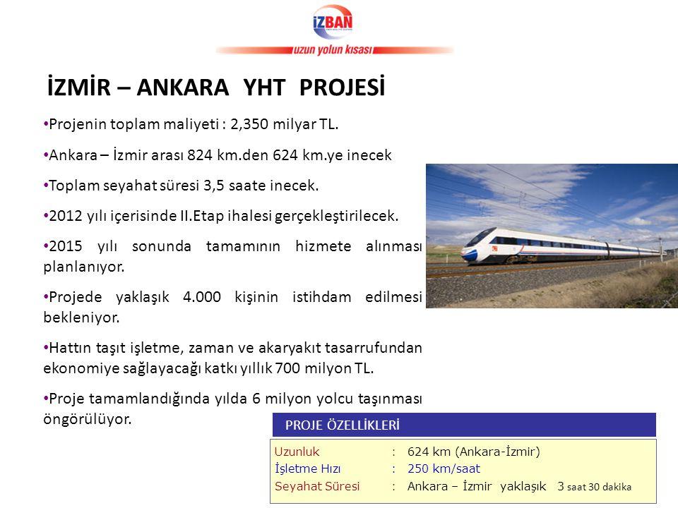 • Projenin toplam maliyeti : 2,350 milyar TL.