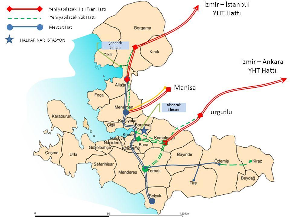 Manisa Turgutlu İzmir – İstanbul YHT Hattı İzmir – Ankara YHT Hattı Çandarlı Limanı Alsancak Limanı Yeni yapılacak Hızlı Tren Hattı Mevcut Hat Yeni yapılacak Yük Hattı HALKAPINAR İSTASYON