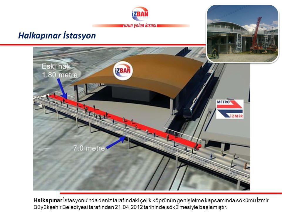Halkapınar İstasyonu'nda deniz tarafındaki çelik köprünün genişletme kapsamında sökümü İzmir Büyükşehir Belediyesi tarafından 21.04.2012 tarihinde sökülmesiyle başlamıştır.