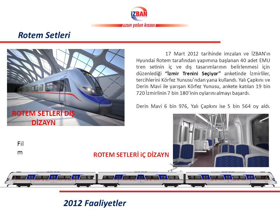 Rotem Setleri ROTEM SETLERİ iÇ DİZAYN ROTEM SETLERİ DIŞ DİZAYN 2012 Faaliyetler 17 Mart 2012 tarihinde imzalan ve İZBAN'ın Hyundai Rotem tarafından yapımına başlanan 40 adet EMU tren setinin iç ve dış tasarımlarının belirlenmesi için düzenlediği İzmir Trenini Seçiyor anketinde İzmirliler, tercihlerini Körfez Yunusu'ndan yana kullandı.