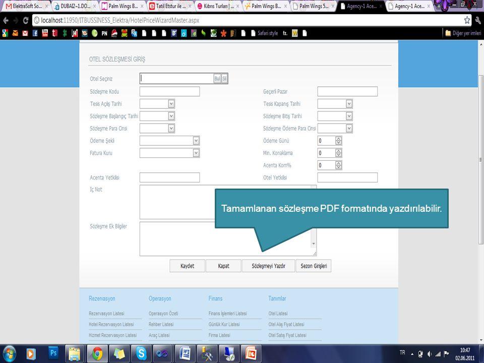 Tamamlanan sözleşme PDF formatında yazdırılabilir.