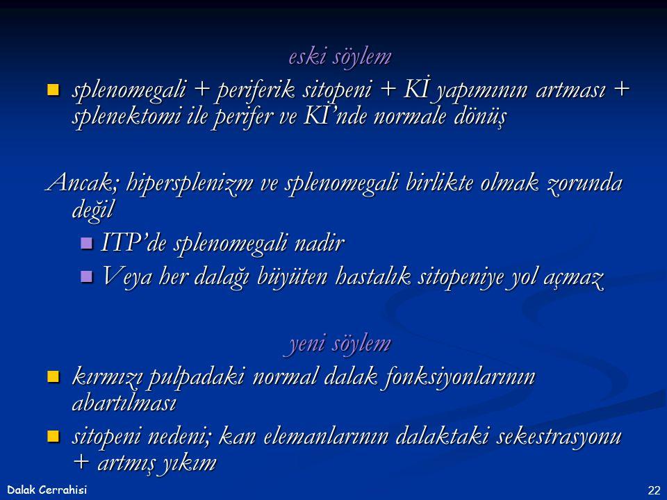 22Dalak Cerrahisi eski söylem  splenomegali + periferik sitopeni + Kİ yapımının artması + splenektomi ile perifer ve Kİ'nde normale dönüş Ancak; hipe