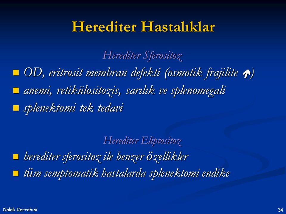 34Dalak Cerrahisi Herediter Sferositoz  OD, eritrosit membran defekti (osmotik frajilite  )  anemi, retikülositozis, sarılık ve splenomegali  sple
