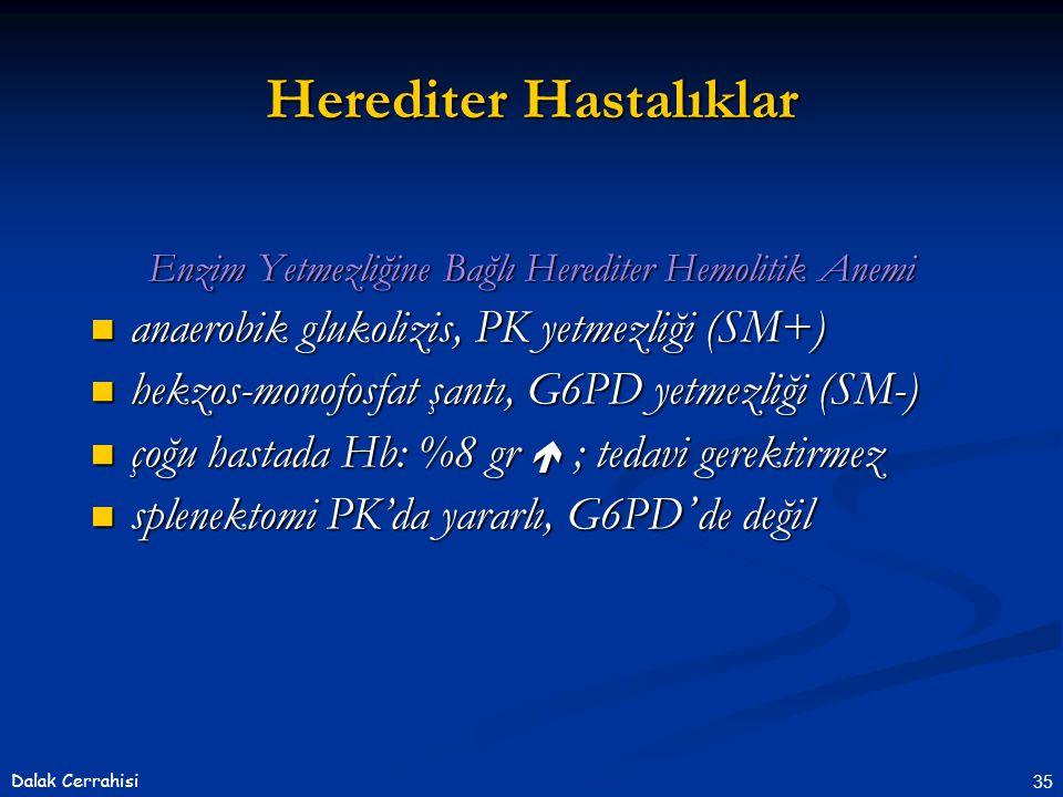 35Dalak Cerrahisi Enzim Yetmezliğine Bağlı Herediter Hemolitik Anemi  anaerobik glukolizis, PK yetmezliği (SM+)  hekzos-monofosfat şantı, G6PD yetmezliği (SM-)  çoğu hastada Hb: %8 gr  ; tedavi gerektirmez  splenektomi PK'da yararlı, G6PD ' de değil Herediter Hastalıklar