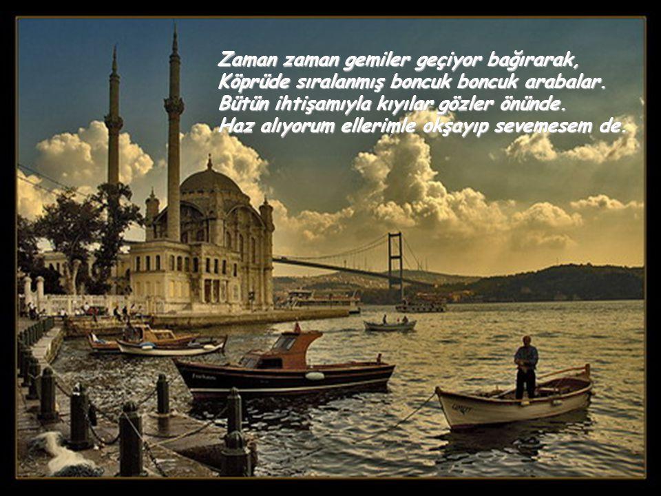 İstanbul'da yükseklerde Çamlıca tepesindeyim. Dirseklerimle korkuluklara yaslanmışım, Yükseklerden boğaza bakıyorum. Bakıyorum da güzelliği içime sığd