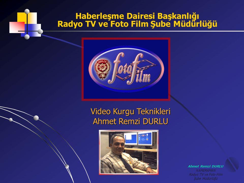 Ahmet Remzi DURLU KAMERAMAN Radyo TV ve Foto-Film Şube Müdürlüğü Kurgu Sistemi oluşturmak CUT (KESME) KURGU YAPILABİLECEK SİSTEMLER ( 1.KONFİGURASYON ) KAMERA VTR MONİTÖR Bu sistemde Kameradan VTR üzerine kopya yapılabilir.
