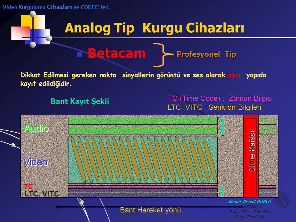 Ahmet Remzi DURLU KAMERAMAN Radyo TV ve Foto-Film Şube Müdürlüğü Analog Tip Kurgu Cihazları BBetacam Profesyonel Tip Audio Video TC LTC, VITC Silme
