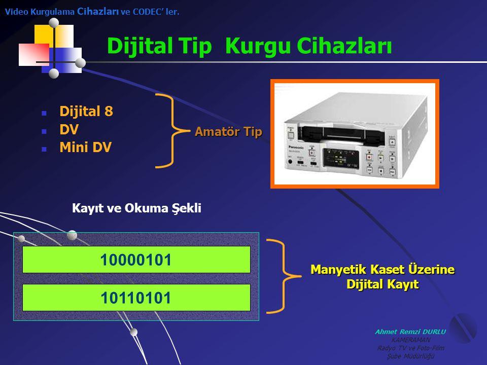 Ahmet Remzi DURLU KAMERAMAN Radyo TV ve Foto-Film Şube Müdürlüğü DDijital 8 DDV MMini DV Amatör Tip Dijital Tip Kurgu Cihazları 10110101 1000010