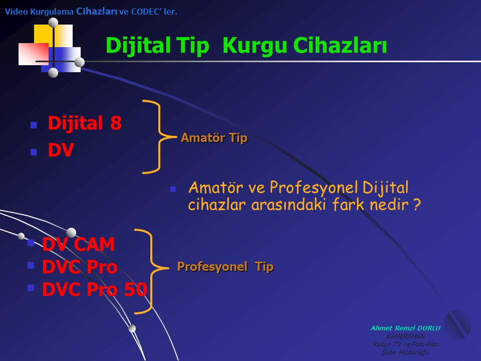 Ahmet Remzi DURLU KAMERAMAN Radyo TV ve Foto-Film Şube Müdürlüğü AAmatör ve Profesyonel Dijital cihazlar arasındaki fark nedir ? Dijital Tip Kurgu C