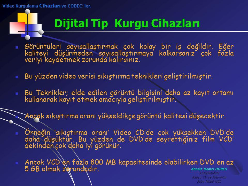 Ahmet Remzi DURLU KAMERAMAN Radyo TV ve Foto-Film Şube Müdürlüğü GGörüntüleri sayısallaştırmak çok kolay bir iş değildir. Eğer kaliteyi düşürmeden s