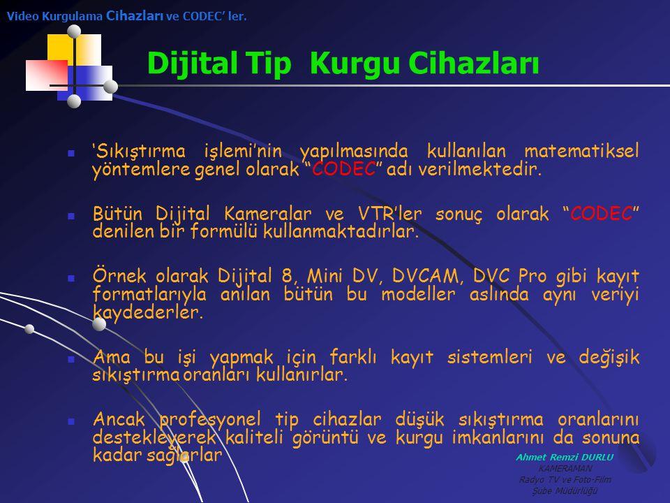Ahmet Remzi DURLU KAMERAMAN Radyo TV ve Foto-Film Şube Müdürlüğü ''Sıkıştırma işlemi'nin yapılmasında kullanılan matematiksel yöntemlere genel olara