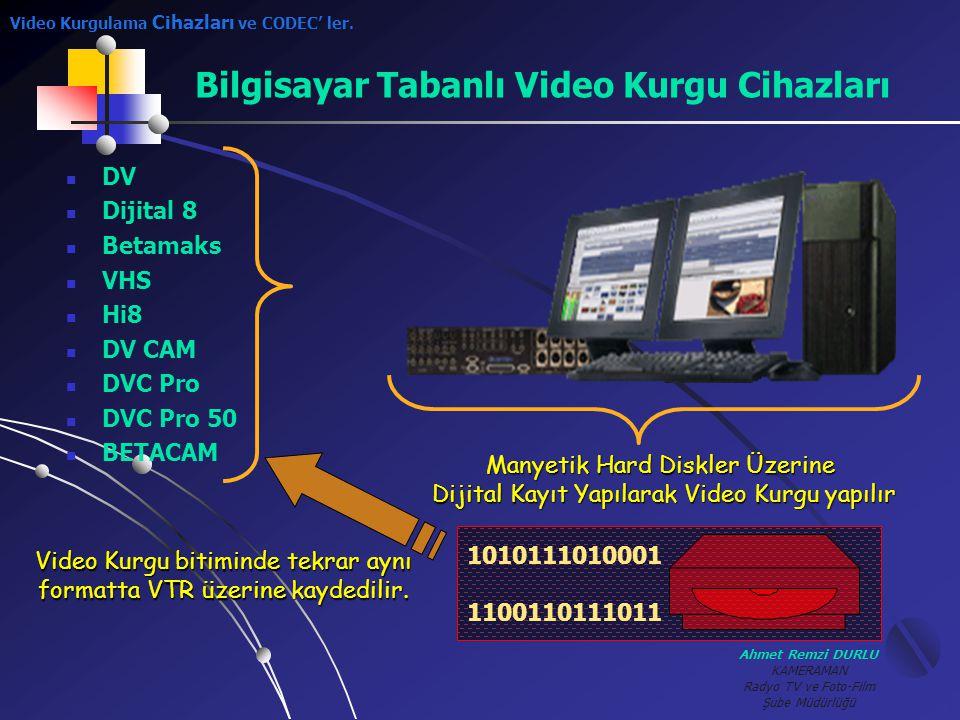 Ahmet Remzi DURLU KAMERAMAN Radyo TV ve Foto-Film Şube Müdürlüğü Bilgisayar Tabanlı Video Kurgu Cihazları 1010111010001 1100110111011 Manyetik Hard Di