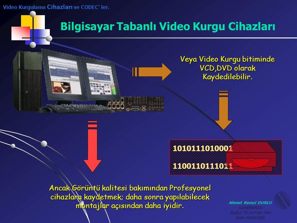 Ahmet Remzi DURLU KAMERAMAN Radyo TV ve Foto-Film Şube Müdürlüğü Bilgisayar Tabanlı Video Kurgu Cihazları 1010111010001 1100110111011 Veya Video Kurgu
