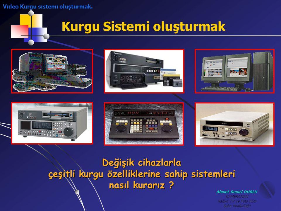 Ahmet Remzi DURLU KAMERAMAN Radyo TV ve Foto-Film Şube Müdürlüğü Kurgu Sistemi oluşturmak Video Kurgu sistemi oluşturmak. Değişik cihazlarla çeşitli k