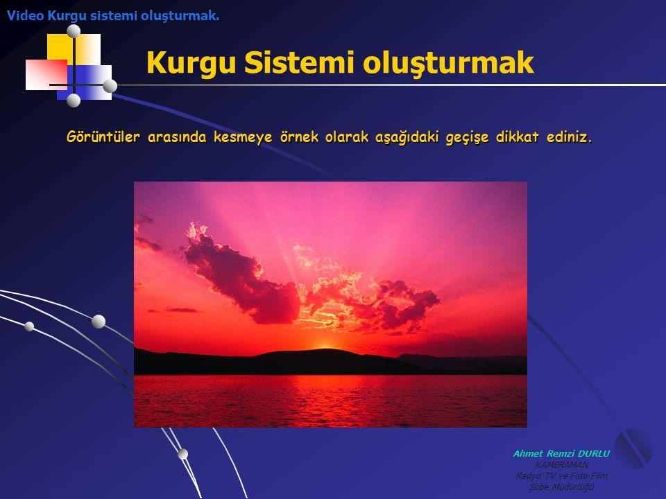 Ahmet Remzi DURLU KAMERAMAN Radyo TV ve Foto-Film Şube Müdürlüğü Kurgu Sistemi oluşturmak Görüntüler arasında kesmeye örnek olarak aşağıdaki geçişe di