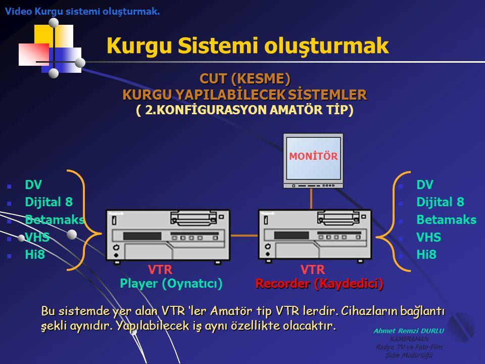 Ahmet Remzi DURLU KAMERAMAN Radyo TV ve Foto-Film Şube Müdürlüğü Kurgu Sistemi oluşturmak CUT (KESME) KURGU YAPILABİLECEK SİSTEMLER ( 2.KONFİGURASYON