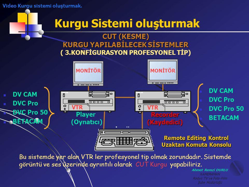 Ahmet Remzi DURLU KAMERAMAN Radyo TV ve Foto-Film Şube Müdürlüğü Kurgu Sistemi oluşturmak CUT (KESME) KURGU YAPILABİLECEK SİSTEMLER ( 3.KONFİGURASYON