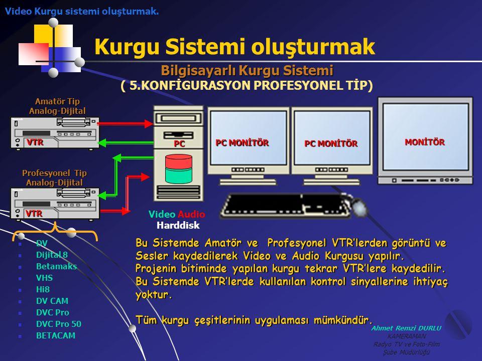 Ahmet Remzi DURLU KAMERAMAN Radyo TV ve Foto-Film Şube Müdürlüğü Kurgu Sistemi oluşturmak Amatör Tip Analog-Dijital Profesyonel Tip Analog-Dijital VTR