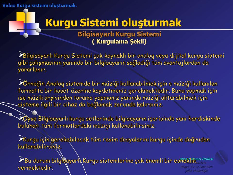 Ahmet Remzi DURLU KAMERAMAN Radyo TV ve Foto-Film Şube Müdürlüğü Kurgu Sistemi oluşturmak Bilgisayarlı Kurgu Sistemi ( Kurgulama Şekli) BBBBilgisa