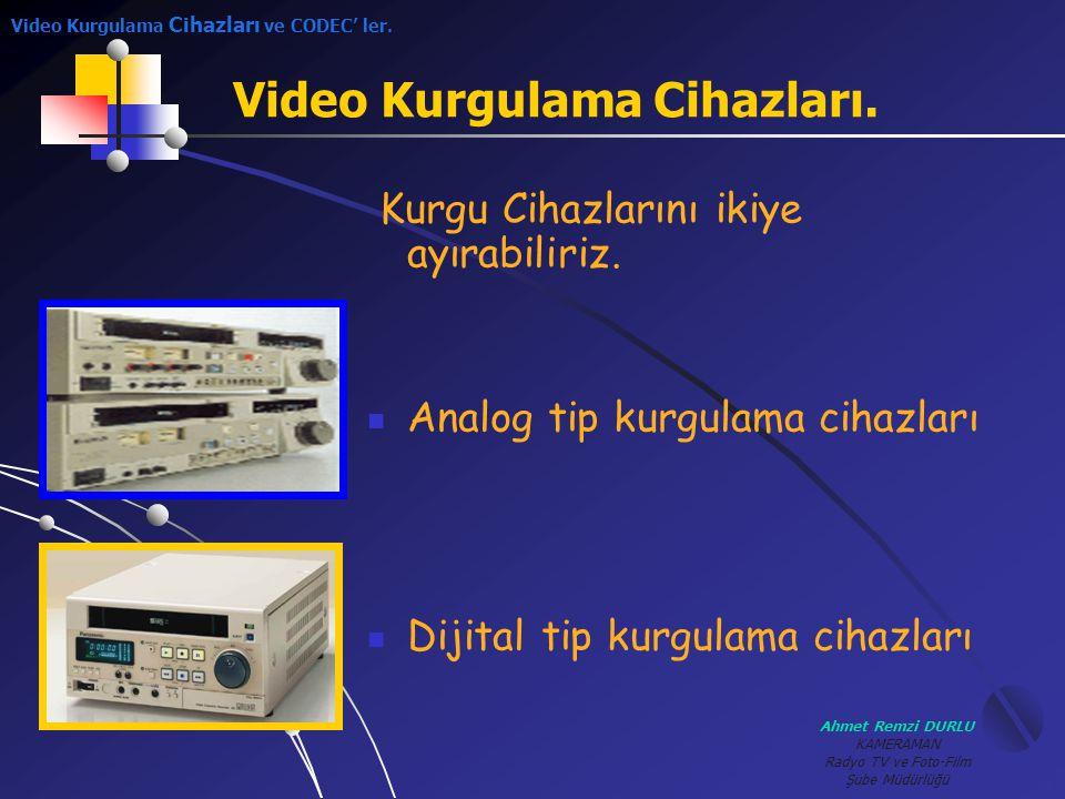 Ahmet Remzi DURLU KAMERAMAN Radyo TV ve Foto-Film Şube Müdürlüğü Analog Tip Kurgu Cihazları KKayıt şekli; manyetik olarak, resim, ses ve kontrol bilgisi şeklindedir.
