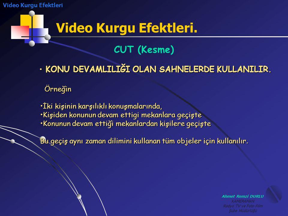 Ahmet Remzi DURLU KAMERAMAN Radyo TV ve Foto-Film Şube Müdürlüğü Video Kurgu Efektleri. Video Kurgu Efektleri CUT (Kesme) Örneğin •İ•İ•İ•İki kişinin k