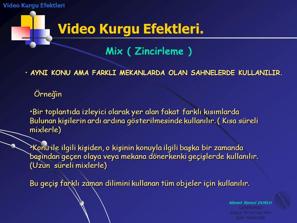 Ahmet Remzi DURLU KAMERAMAN Radyo TV ve Foto-Film Şube Müdürlüğü Video Kurgu Efektleri. Mix ( Zincirleme ) Örneğin •B•B•B•Bir toplantıda izleyici olar
