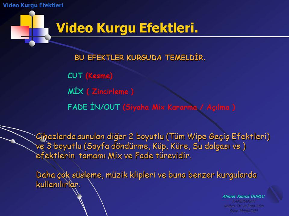 Ahmet Remzi DURLU KAMERAMAN Radyo TV ve Foto-Film Şube Müdürlüğü Video Kurgu Efektleri. Video Kurgu Efektleri CUT (Kesme) MİX ( Zincirleme ) FADE İN/O