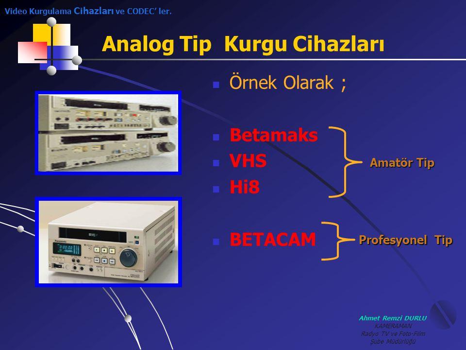 Ahmet Remzi DURLU KAMERAMAN Radyo TV ve Foto-Film Şube Müdürlüğü GGörüntüleri sayısallaştırmak çok kolay bir iş değildir.