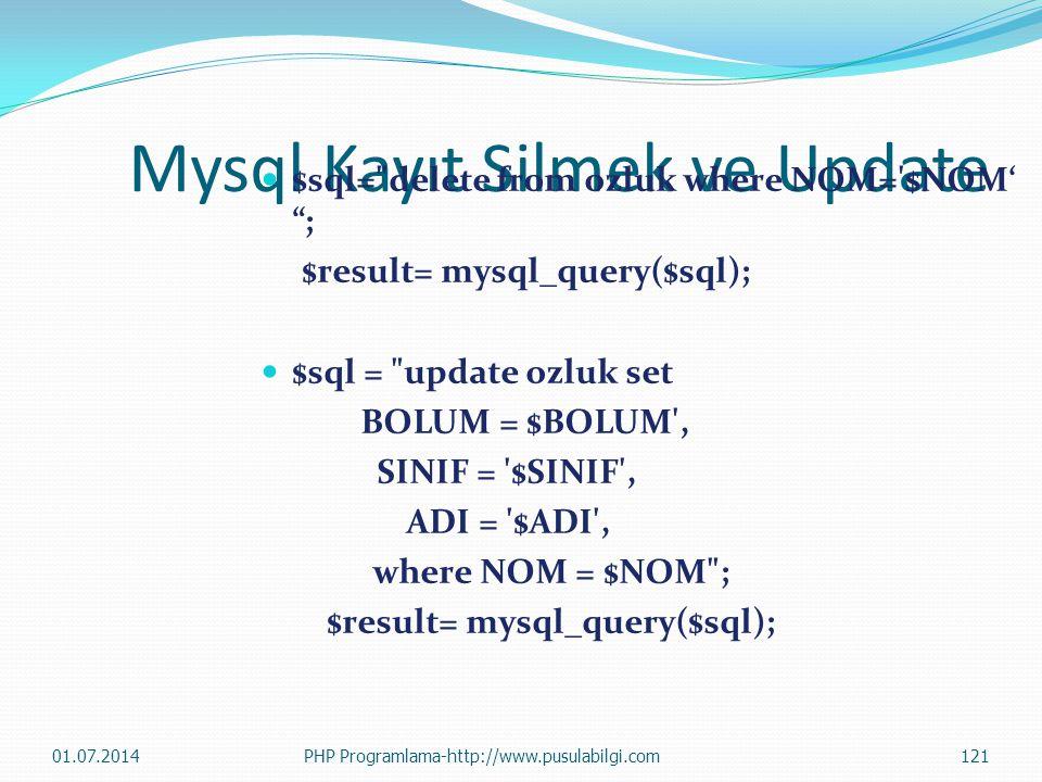 Mysql Kayıt Silmek ve Update  $sql= delete from ozluk where NOM= $NOM' ; $result= mysql_query($sql);  $sql = update ozluk set BOLUM = $BOLUM , SINIF = $SINIF , ADI = $ADI , where NOM = $NOM ; $result= mysql_query($sql); 01.07.2014121PHP Programlama-http://www.pusulabilgi.com