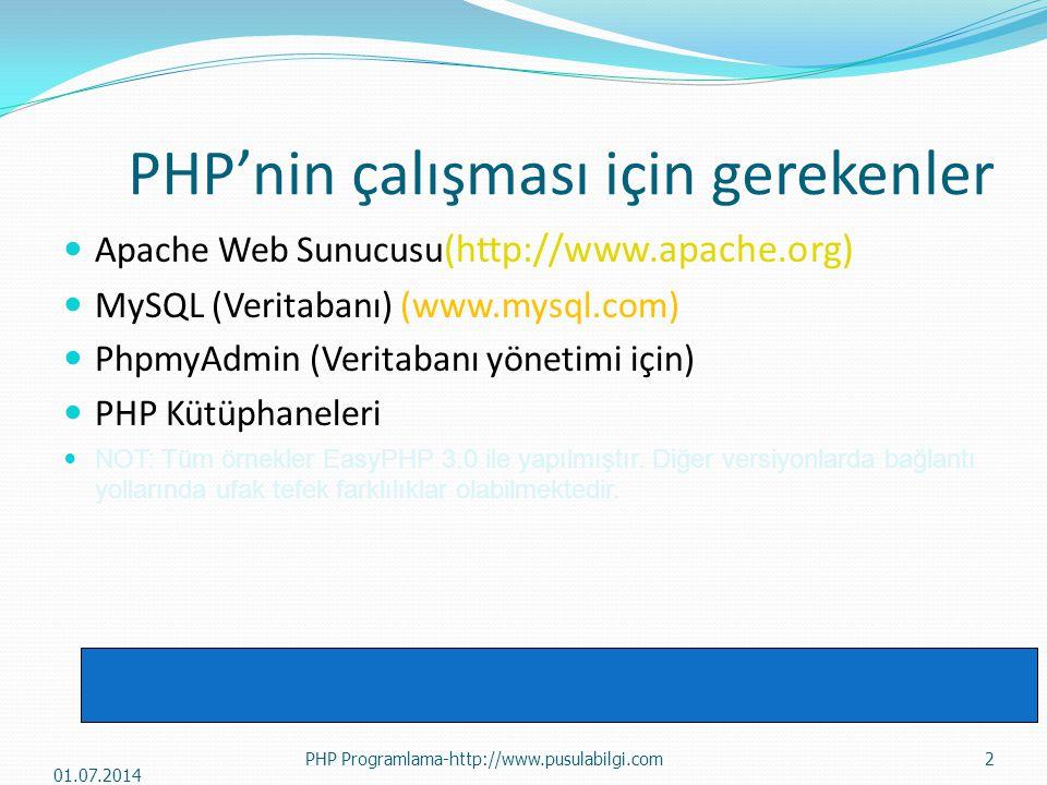PHP'nin çalışması için gerekenler  Apache Web Sunucusu (http://www.apache.org)  MySQL (Veritabanı) (www.mysql.com)  PhpmyAdmin (Veritabanı yönetimi için)  PHP Kütüphaneleri  NOT: Tüm örnekler EasyPHP 3.0 ile yapılmıştır.